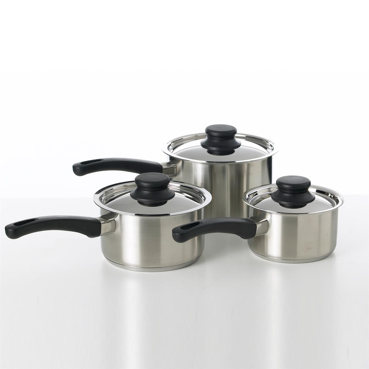3 Piece Stainless Steel Saucepan Set