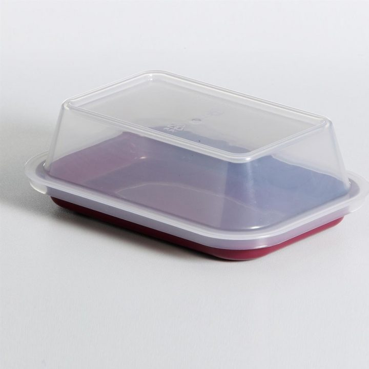 KH Tray Rectangular Burgundy With Lid To Suit